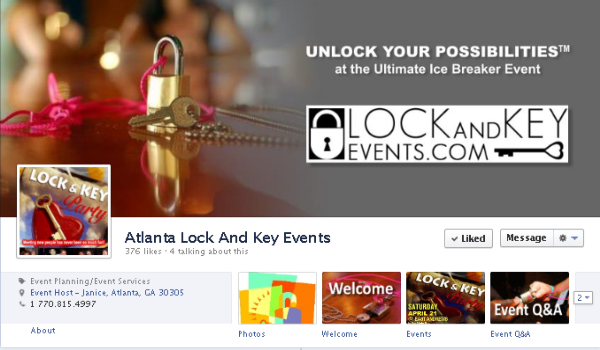 Facebook cover image - Lock And Key Events Atlanta